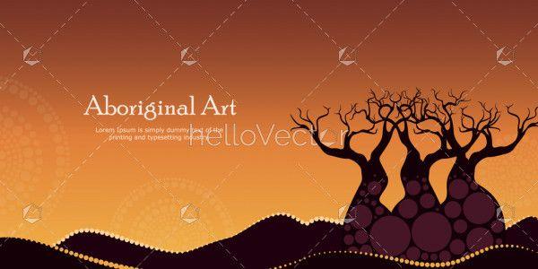 Aboriginal art landscapes vector banner background