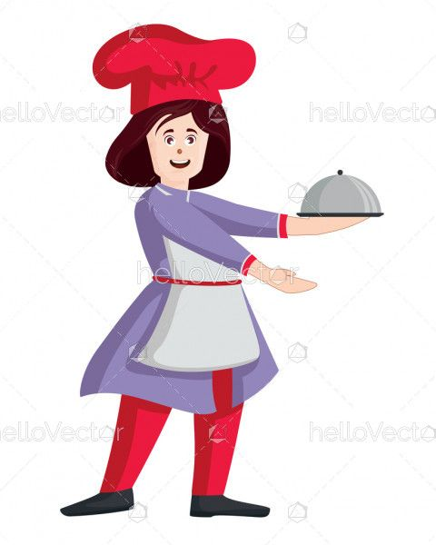 Female chef vector. Woman cook in apron standing with tray illustration.