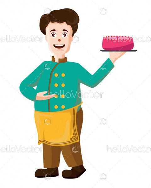Smiling chef cartoon character - Vector illustration