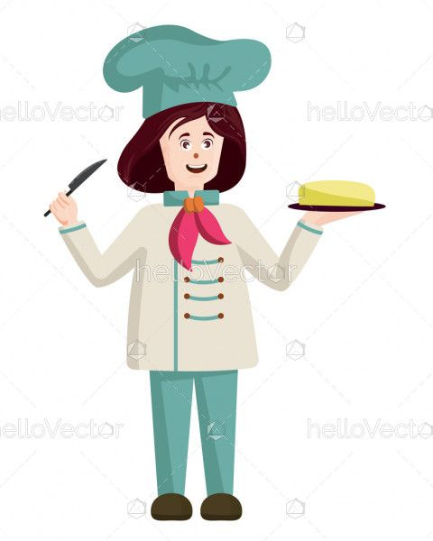 Female chef vector illustration