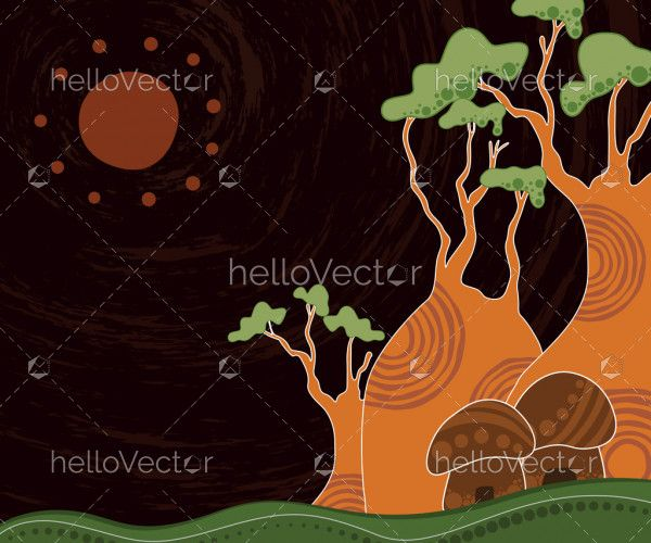 Boab (baobab) tree vector painting