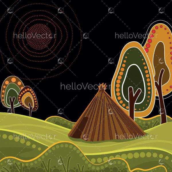 An illustration based on aboriginal style of background depicting nature