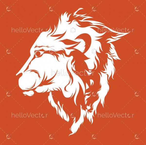 Side view lion face - Vector Illustration