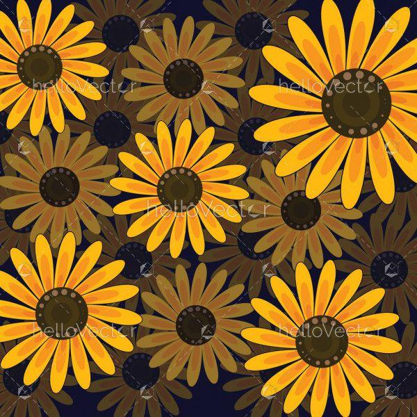 Sunflower seamless pattern background - Vector illustration