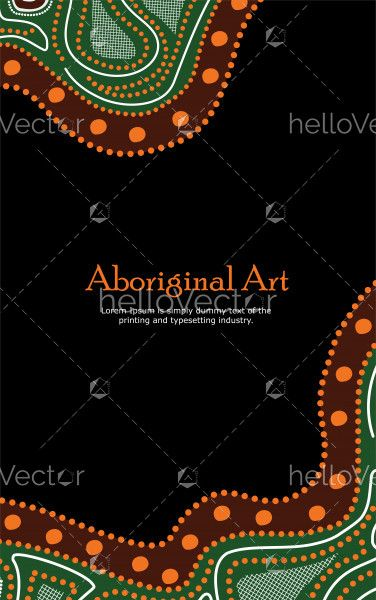 Vector Banner with text. Aboriginal art illustration.