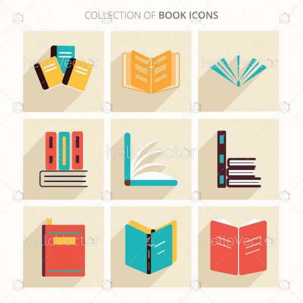 Books icon collection with shadow in trendy flat style isolated on colorful background