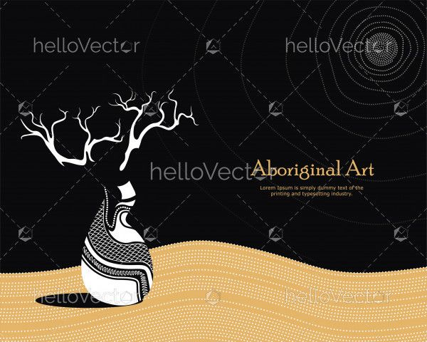 Vector Banner with text. Boab (Baobab) Tree Vector Painting.
