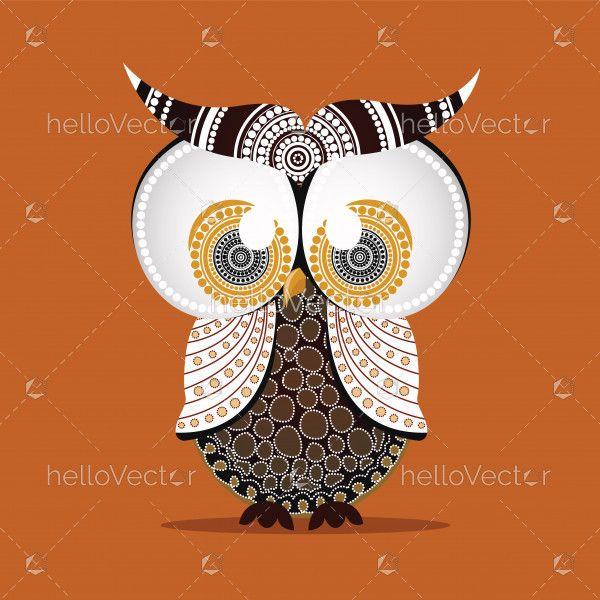Aboriginal Owl Vector.