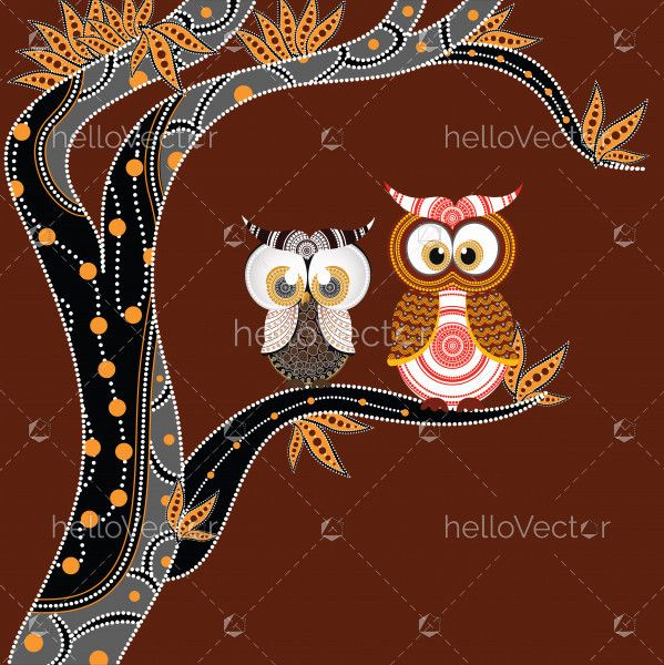 Aboriginal Painting With Owl Vector.