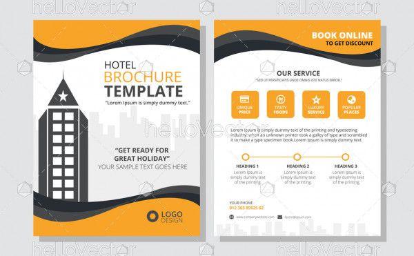 Hotel brochure design vector template.