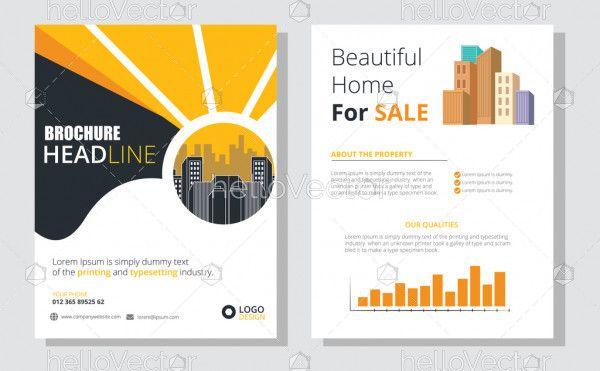 Brochure design vector template. Real estate concept