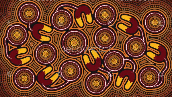 Illustration based on aboriginal style of background. Connection concept