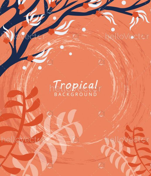 Abstract tropical leaves banner background. Vector illustration