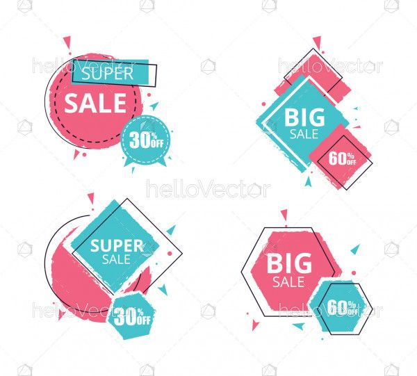 Set of modern advertise offer banner - Vector illustration