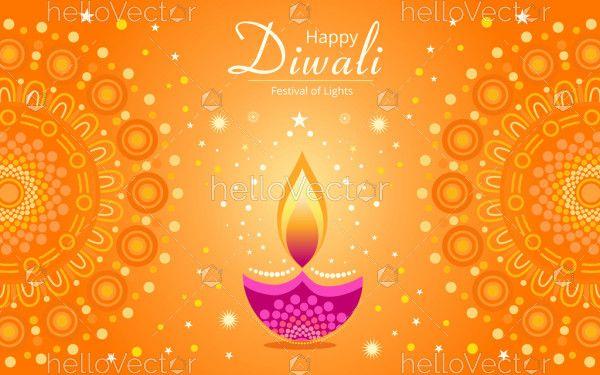 Happy Diwali vector decorative background.
