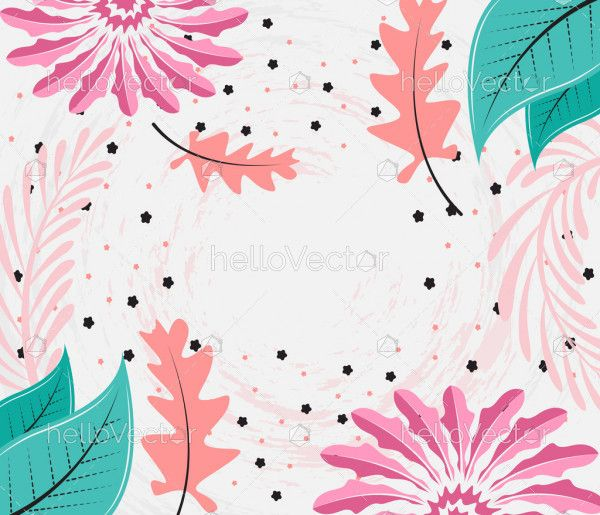 Abstract vector floral leaves and flowers background