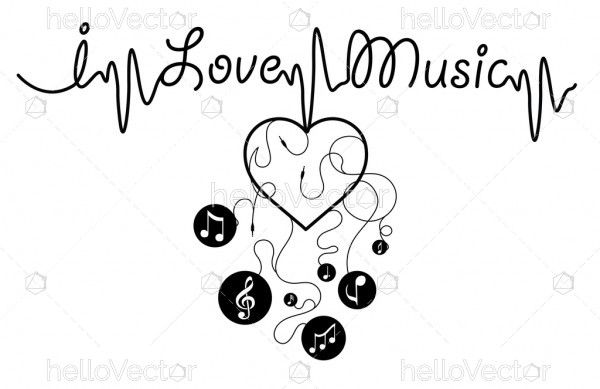 I love music - Vector graphic
