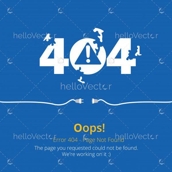 Error 404 page layout vector design