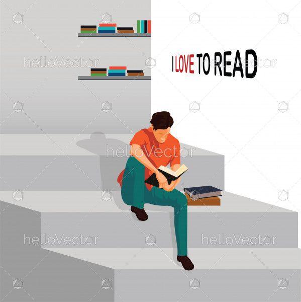 I love reading vector Illustration