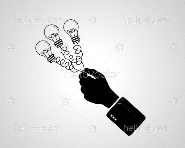 Hand holding light bulb. Ideas concept