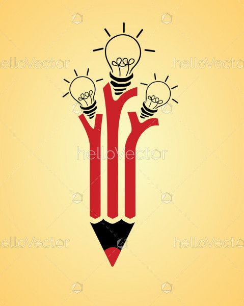 Red pencil with idea bulbs vector illustration