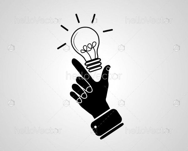 Idea concept with hand. Vector illustration