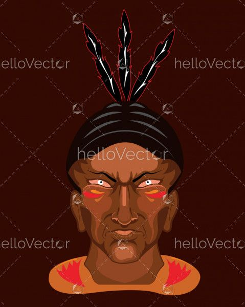 American Indian chief front face - vector illustration