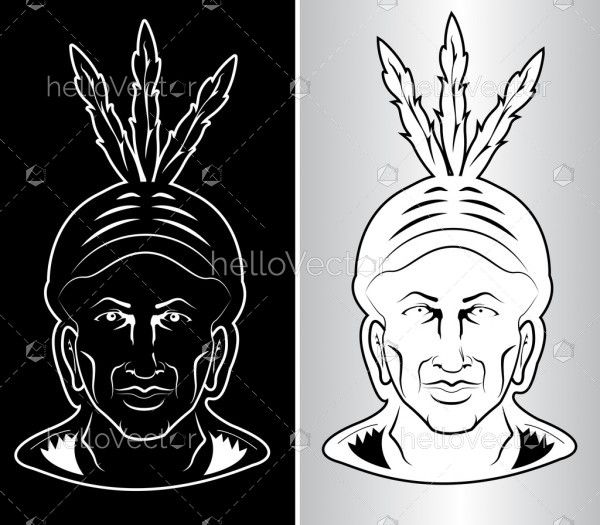 North American Indian chief - front face illustration