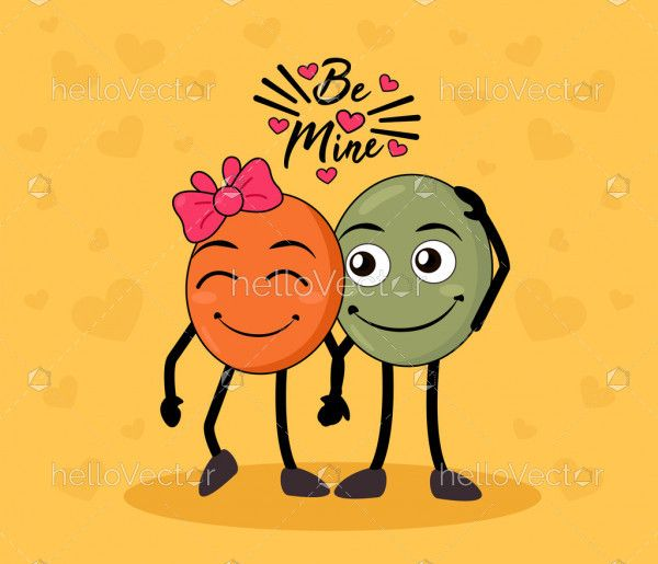 Cute couple cartoon, Valentine's day graphic design - Vector illustration