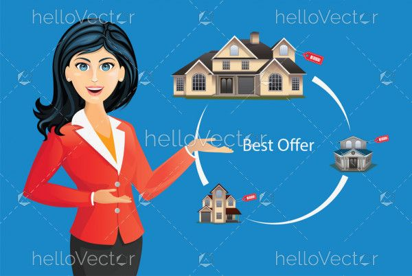Woman in suit offering house - real estate concept vector