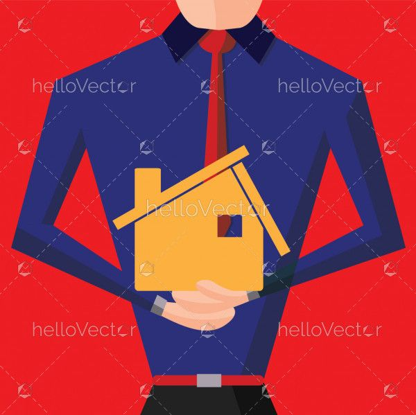 Real Estate background - agent with house model