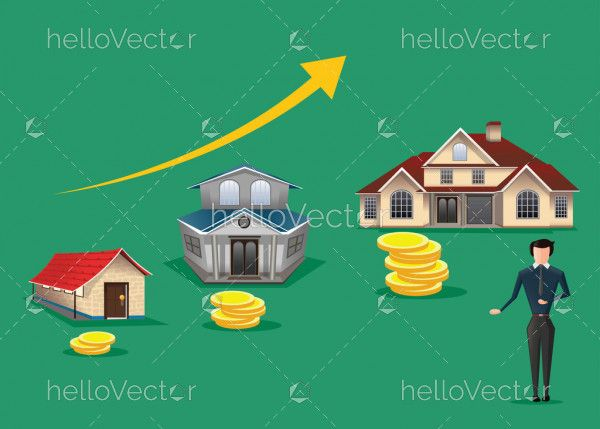 Real Estate concept vector background - Agent Offering House