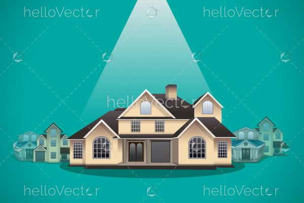 House selection -  real estate concept illustration
