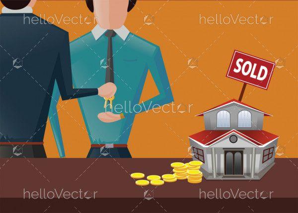 House Sold Real Estate Illustration