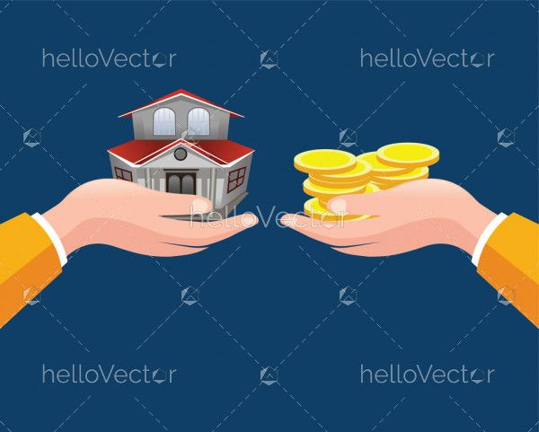 Real Estate concept - Agent Offering House - Vector illustration