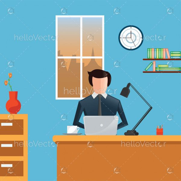 Business concept -  Office workplace flat illustration