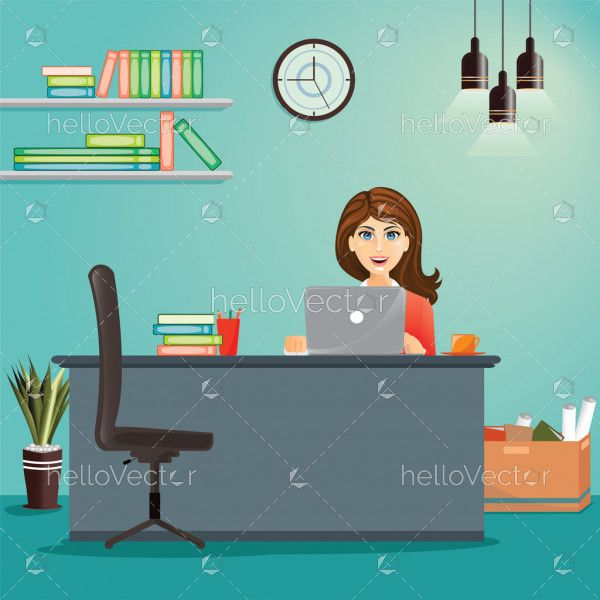 Business concept - woman working at her office desk