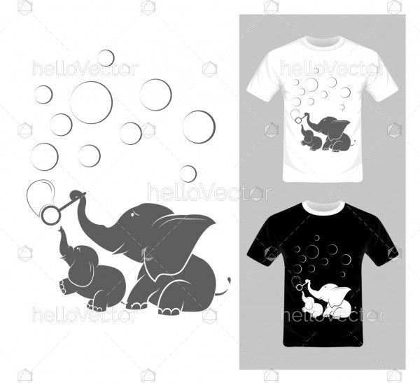 T-shirt graphic design. Elephant with bubbles vector illustration.