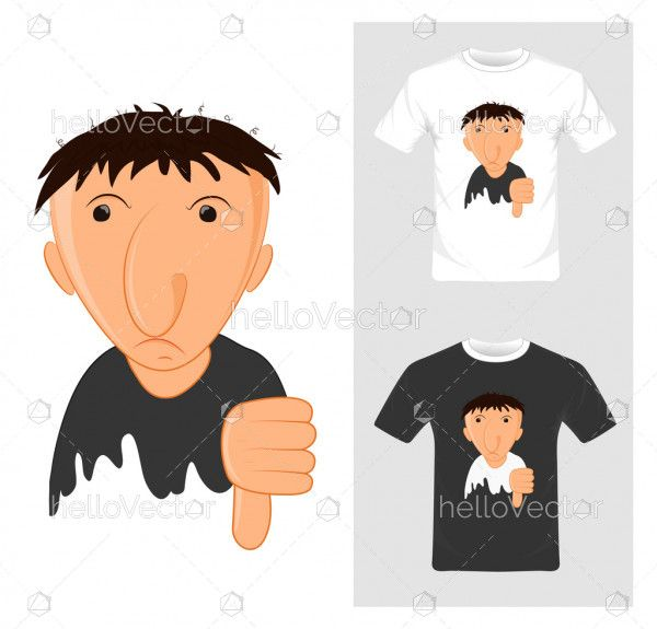 T-shirt graphic design. cartoon with thump down - vector illustration