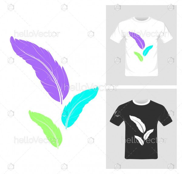T-shirt graphic design. Colorful leaf on tee - vector illustration