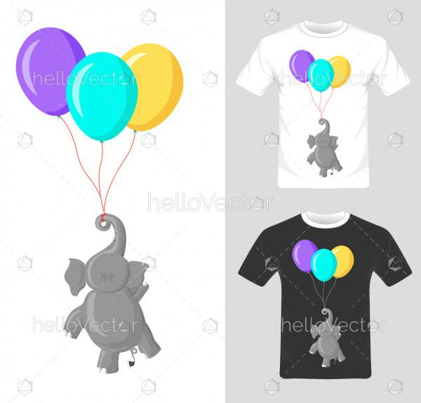 T-shirt graphic design. Elephant with balloon vector illustration.