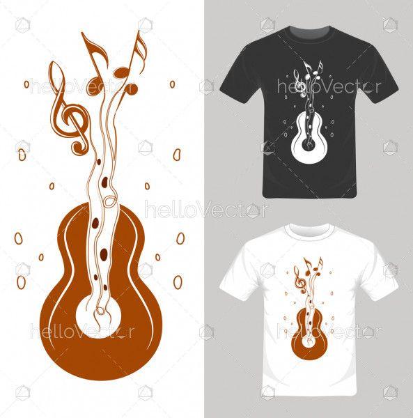 T-shirt graphic design. Music guitar vector illustration