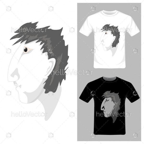 Man cartoon face Vector illustration. T-shirt graphic design