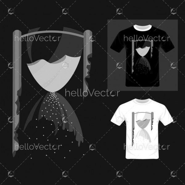 Transparent hourglass flat design - Vector Illustration