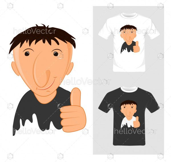 T-shirt graphic design. Cartoon with thump up