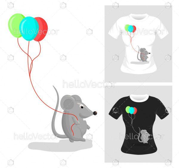 T-shirt graphic design. Rat with balloon vector illustration