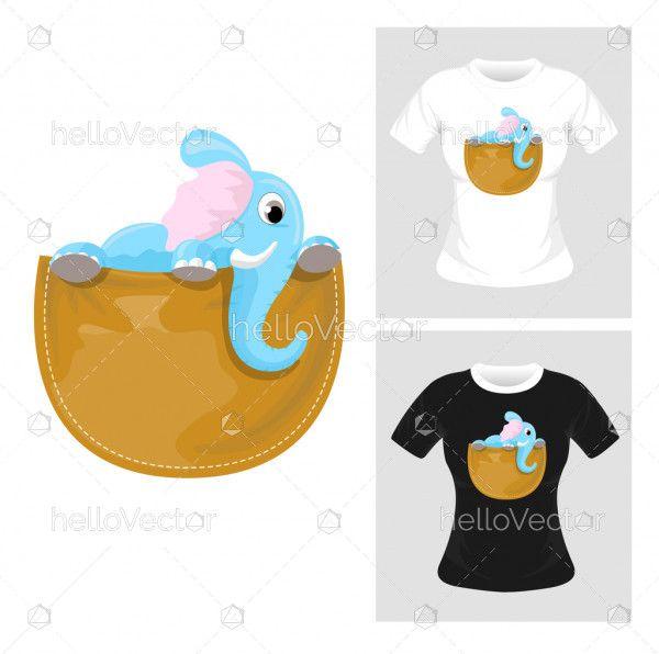 T-shirt graphic design. Baby elephant vector illustration