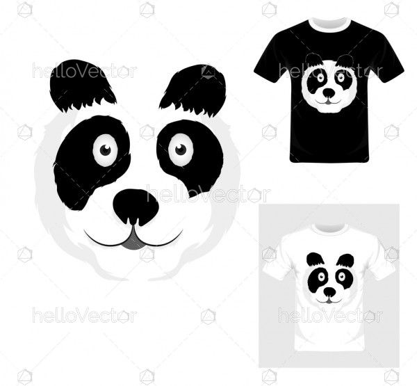 T-shirt graphic design. Black and white panda vector illustration