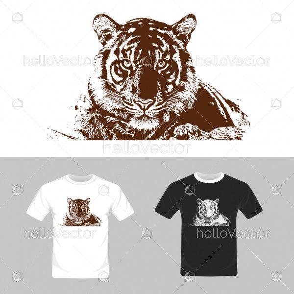 T-shirt graphic design. Tiger vector illustration
