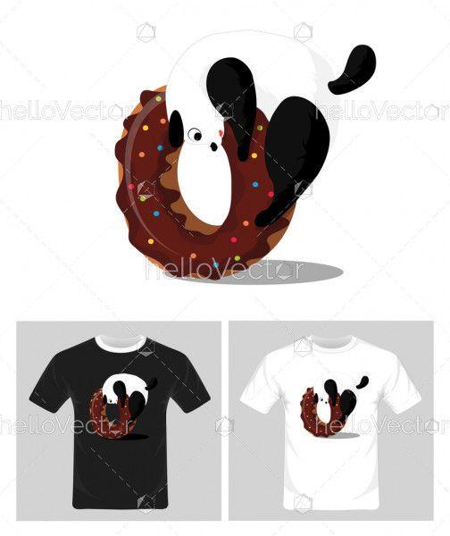 T-shirt graphic design. Playing panda vector illustration
